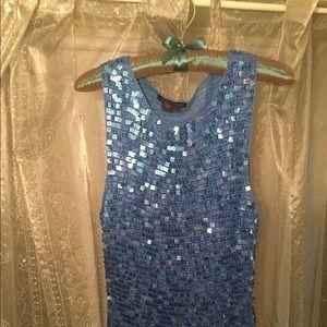 Brilliant Blue 3-piece Suit-Sequin Top