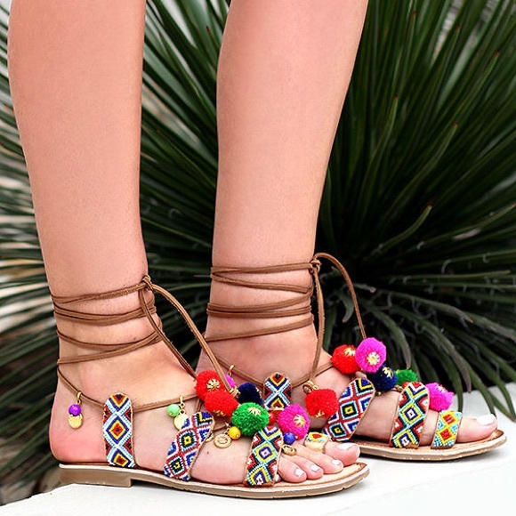 Chinese Laundry Shoes - New Chinese Laundry Pom Pom Lace Up Sandals