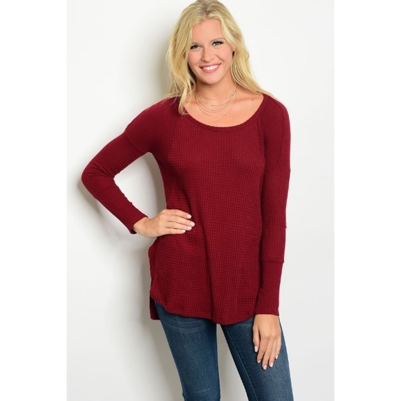 268658bd2 The O Boutique Tops | Clearancewine Red Long Sleeve Waffle Tunic Top ...