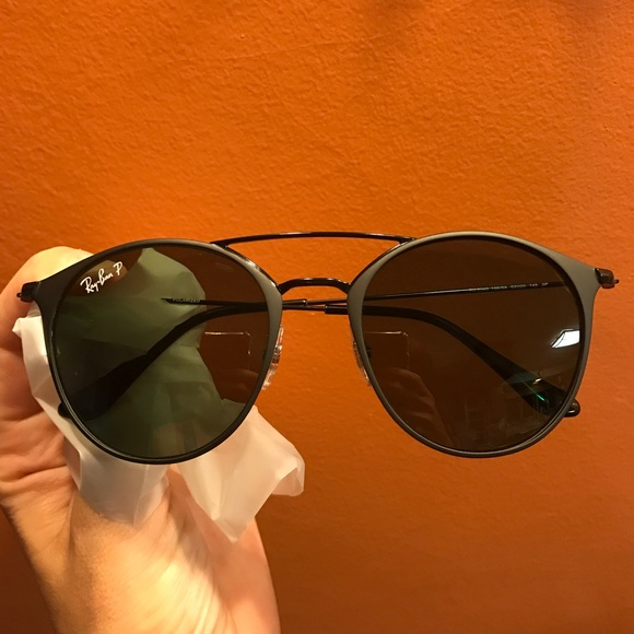 02eee4eff3e Ray Ban Round double bridge black polarized green