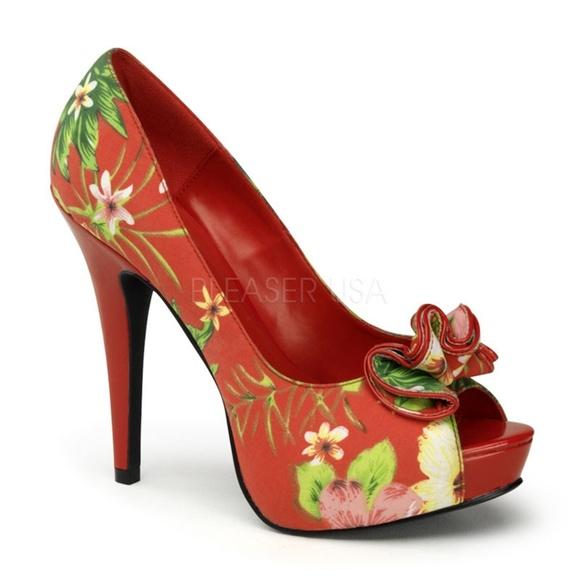 bd0407e6e82 Peep Toe Pin Up Shoes High Heels 50s Vintage Girl
