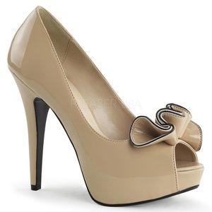 "Shoes - 5"" High Heels Pin Up Peep Toe Shoes Vintage Girl"