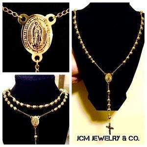 Other - 14K Gold Plated Large Rosary Necklace
