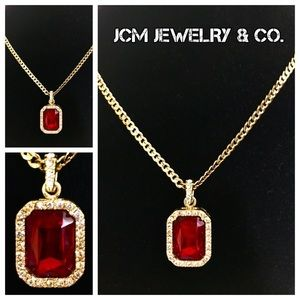 Other - 14K Gold Plated Cuban w/ Red Ruby Encrusted Piece