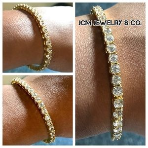 Other - 14K Gold Plated Iced Out Tennis Bracelet
