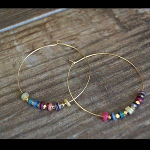 Function & Fringe Jewelry - LAST 1! 🌈 Rainbow Gold Hoop Earrings