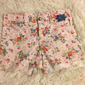 D-Signed Disney Floral pink shorts kids girls 14