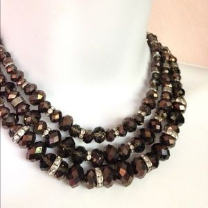 Jewelry - Smokey Layered Necklace Faceted Glass Beads
