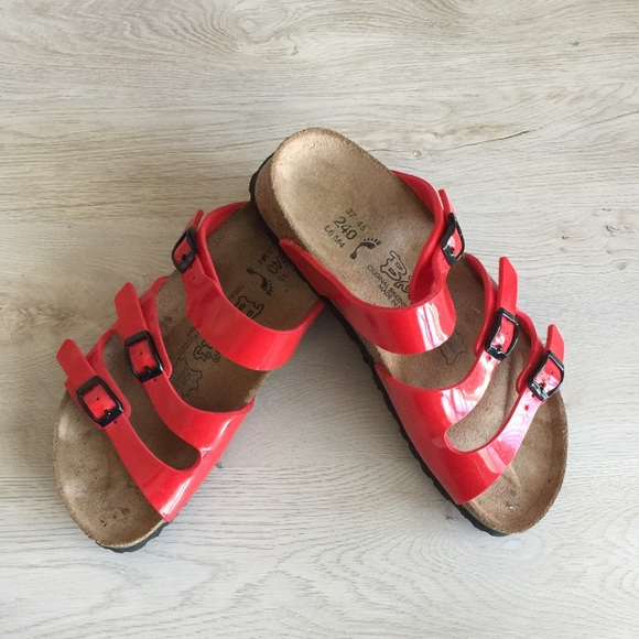 Birkenstock Red Patent Leather Sandals