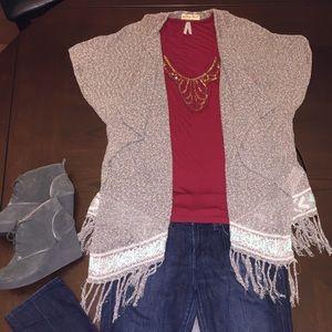 Hollister Open Cascade Sweater, Boho Fringe, OS