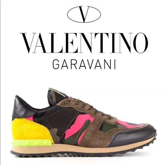 dd5a29f5c9 Valentino Rockstud Camo Print Sneaker NIB 38.5