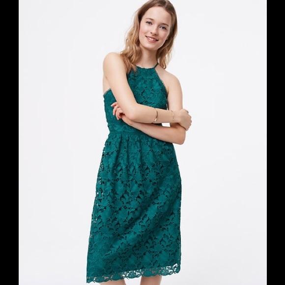 Hpann Taylor Loft Lace Halter Midi Dress Nwt