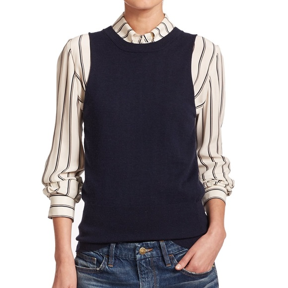 52136349006be Frame Denim Tops - Frame Cashmere   Wool Navy Sleeveless Sweater