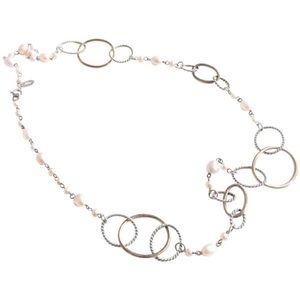 Jewelry - 925 sterling pink Pearl oval link necklace