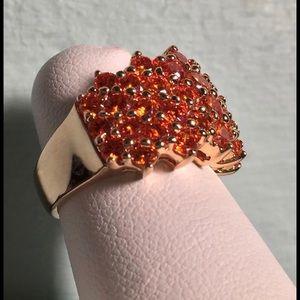 Jewelry - 925 gold vermeil orange cubic zirconia ring
