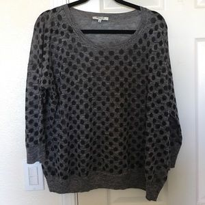 Madewell (barely worn) gray/black dot 3/4 sweater
