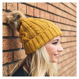 Accessories - New Arrival- Mustard Cable Knit Pom Pom Beanie
