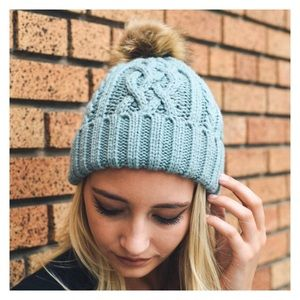 Accessories - New Arrival- Mint Cable Knit Pom Pom Beanie