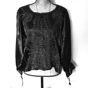 Vintage Embroidered Blouse Black Satin Large