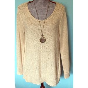 Chico's Gold Sweater Pullover 2 Medium 12 Shimmery