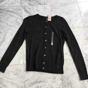 Ann Taylor Black Button Down Sweater