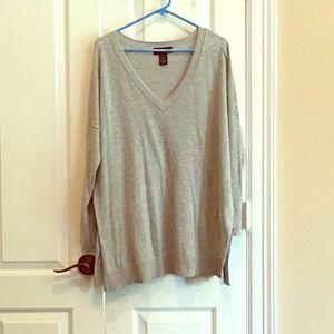 Lane Bryant Gray Tunic Sweater Vneck 14 16 plus