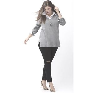 Lane Bryant Gray Tunic Sweater Vneck 14 16 plus