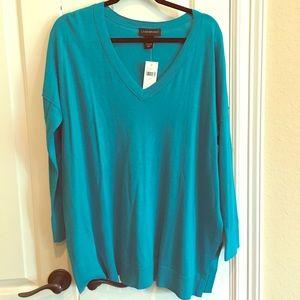 Lane Bryant Turquoise Sweater Tunic Vneck 14 16