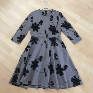 3/4 sleeve dress embroidery flower dress