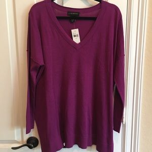 Lane Bryant Purple Tunic Sweater we Vneck 14 16