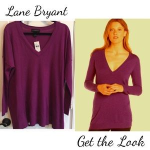 Lane Bryant Purple Tunic Sweater we Vneck 14 16
