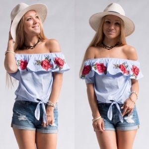 Tops - Embroidered Floral Cold Shoulder Top