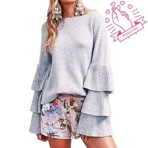 Sweaters - Layered Sleeve Light Gray Chic Sweater, One size