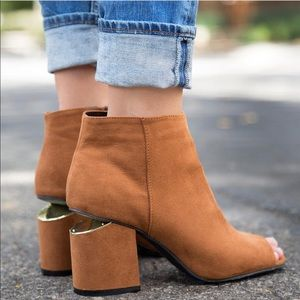 Peep Toe Ankle Bootie Chunky Gold Split Heel
