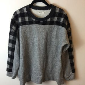 Madewell Grey Wool Plaid Panel Sweater Top