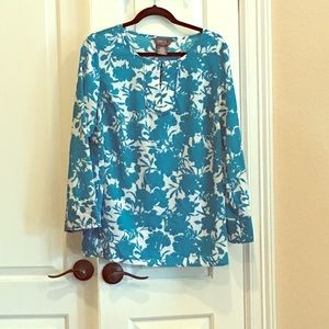 Turquoise Tunic Top Floral Tropical light weight
