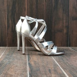 Peep Toe Cross Strap Silver High Heel Sandals