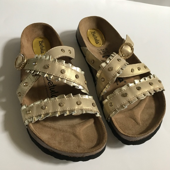 a081930c343fa4 Birkenstock Shoes - Betula by Birkenstock Gold with Jeweled Straps