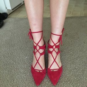 Shoes - Red lace up shoes ( real suede)