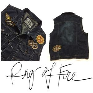 Ring of Fire 🔥 Denim Patchwork Biker Vest Sz Sm