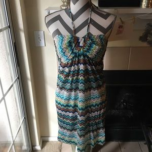 Trina Turk chevron pattern halter dress 2
