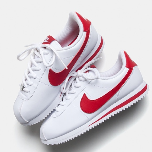 72f39d93ffd NIKE CORTEZ WHITE RED LEATHER CLASSIC SHOES