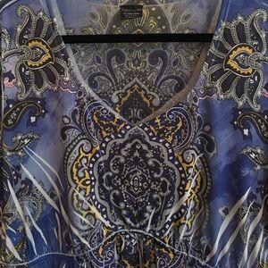 Faded Glory Ikat Top Embellished 3/4 Sleeve Blue