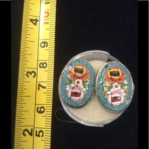 Jewelry - Estate Vintage! Micro-Mosaic Screw back Earrings.