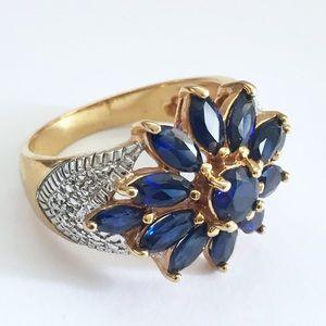 Jewelry - 925 vermeil sterling diamond sapphire ring