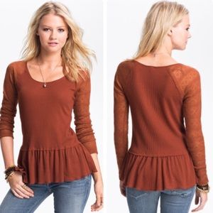 Free People Rust Waffle Knit Thermal Peplum Top S