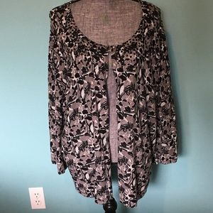 Lane Bryant Embellished Cardigan Floral Sequins