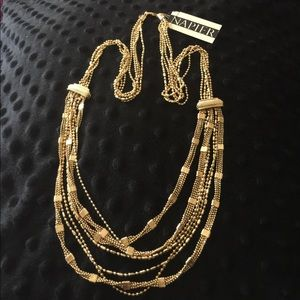"16"" Multiple Golden Strands Napier Necklace"