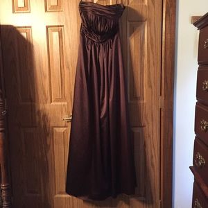 Chocolate satin formal gown