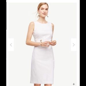 Ann Taylor cotton sateen button tab sheath dress